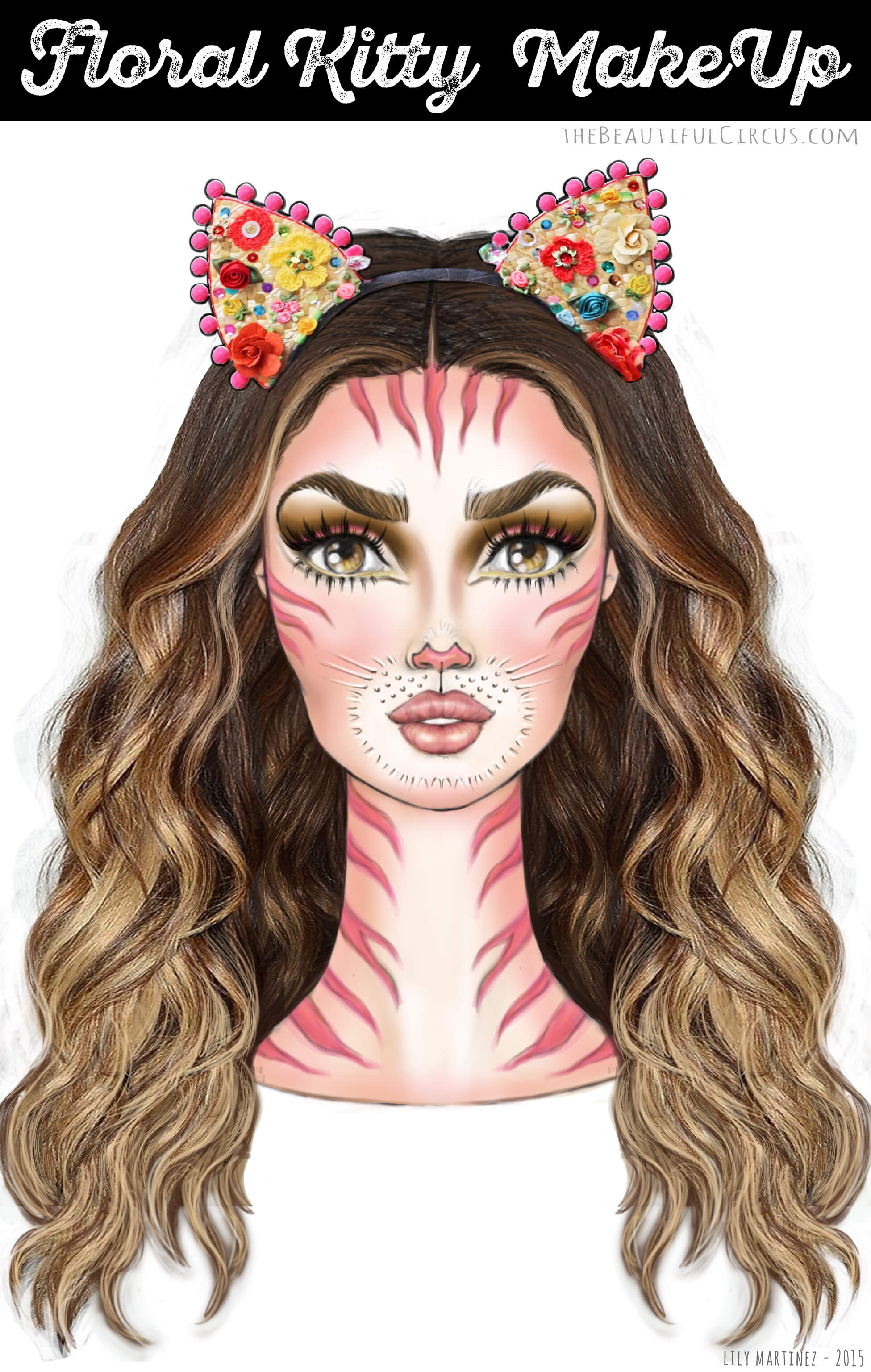 Floral Kitty_MakeUp Look_illustration